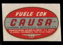 Airline luggage label  Causa of URUGUAY airways    RARE  #553